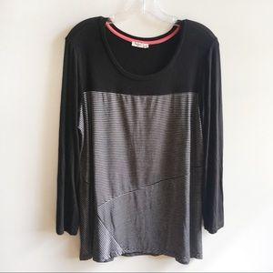 Sympli shirt black gray striped long sleeves